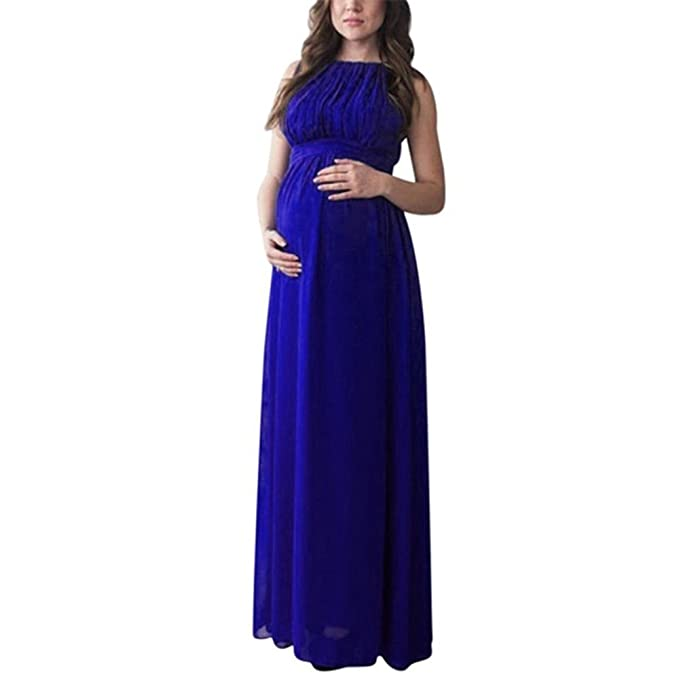61f3905d3efc7 Amazon.com: Maternity Gown, Sleeveless Photography Props High Waist Long  Maxi Pregnant Baby Shower Dress: Clothing