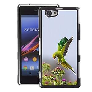 A-type Arte & diseño plástico duro Fundas Cover Cubre Hard Case Cover para Sony Xperia Z1 Compact / Z1 Mini (Not Z1) (Bird Green Flowers Nature Parrot Spring)