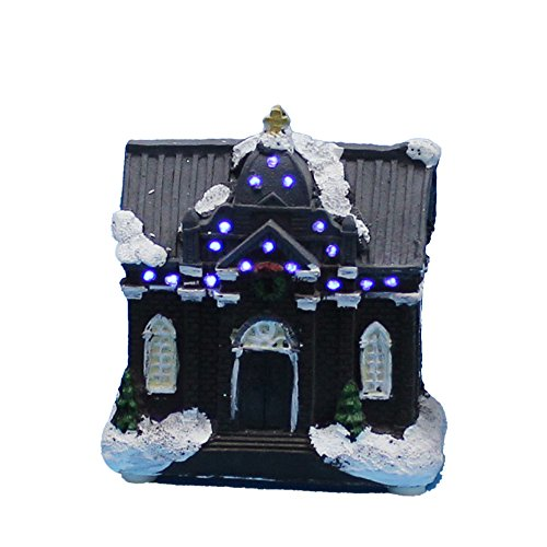 "4"" Christmas Scene House Village and Figurines With Fiber Optic Led Light, (Church house)"