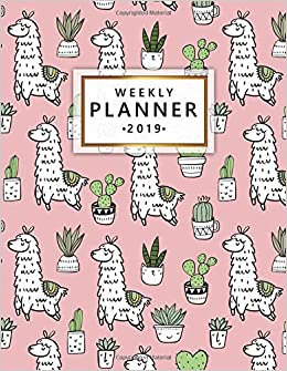 weekly planner 2019 llama cactus weekly and monthly 2019 organizer nifty yearly calendar journal and notebook january 2019 december 2019