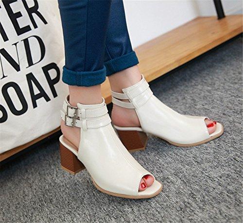 De UK9 Abierta Punta Mujer EU42 para Zapatos Bloque hasta Fiesta Encaje Sandalias Negro Noche De Tacón Beige con 45Sxw