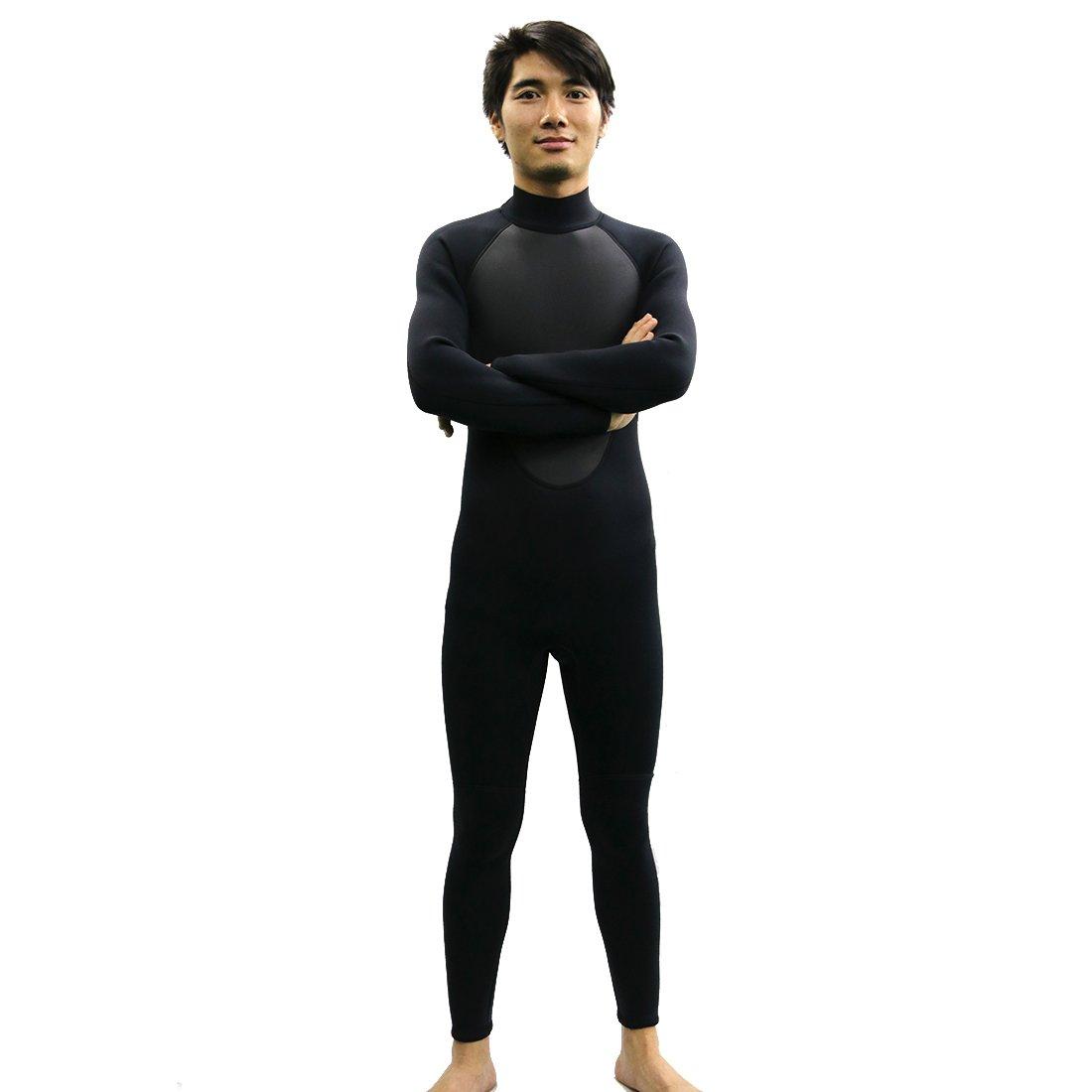 GoldFin Mens Wetsuit Full Body Diving Suit- 3mm Neoprene Surfing Wetsuit Back Zip Long Sleeve for Diving Surfing Snorkeling SW013 (Black, S) by GoldFin