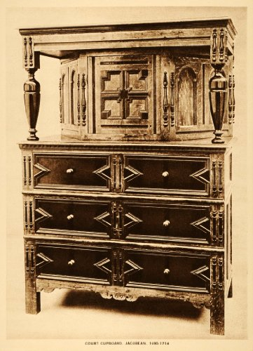 Jacobean Court Cupboard Furniture Chest Drawers Antique - Original Intaglio Print (Reverse Intaglio)