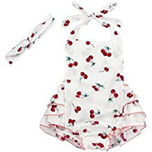 Carkoo Floral Pom Rompers Cherry Baby Girls Swimsuits with Headband