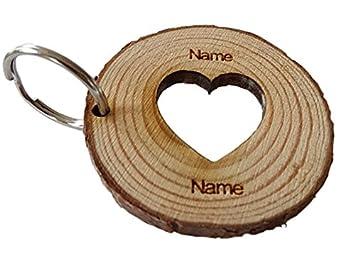 Personalised Keyring Rustic Log Slice Key ring x4 Names Engraved Family Friends