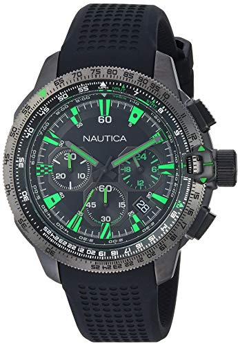 Nautica Men's Mission Bay Chrono Stainless Steel Japanese-Quartz Silicone Strap, Black, 21.2 Casual Watch (Model: NAPMSB002