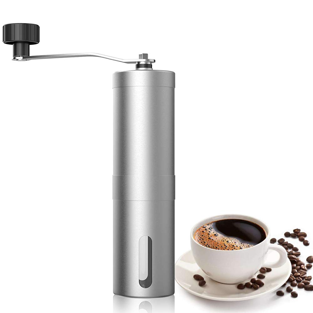 SAYGOGO Manual Coffee Grinder, Hand-Poured Coffee, Coffee Ceramic Conical Burr,Convenience, Handled Mini, Brushed Stainless Steel,Compliant with Home, ...
