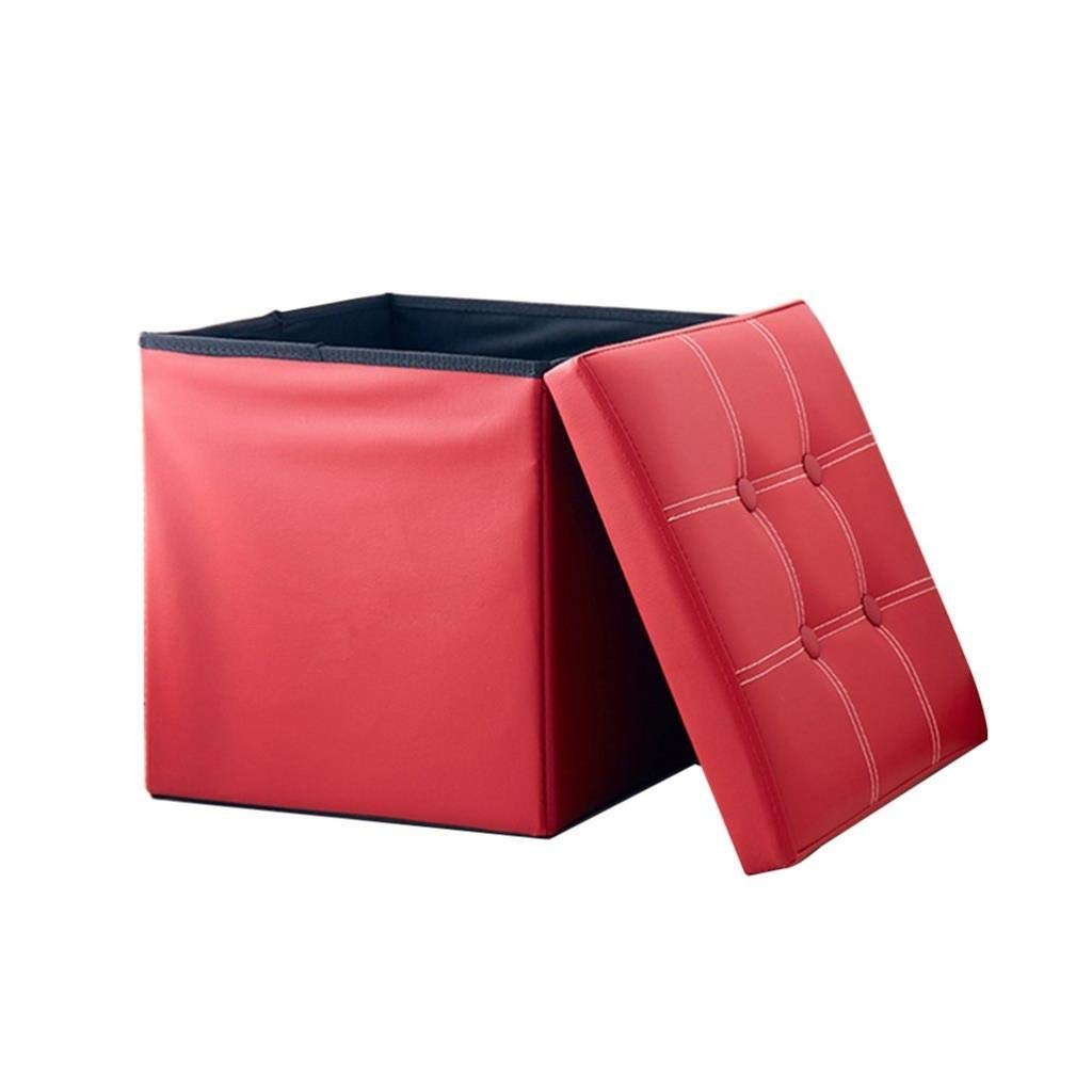 Shoe Stool, Square Storage Stool, Makeup Stool, Coffee Table Storage Stool, Artificial Leather Dressing Makeup Stool Corridor Living Room Bedroom Dining Room, Bearing Capacity 150 Kg 35x35x35 cm by CS-JZ