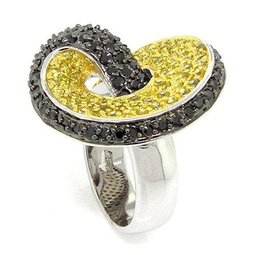 Swirl Cocktail Ring (Swirl Cocktail Ring w/pav?Golden & Black CZs, 6)
