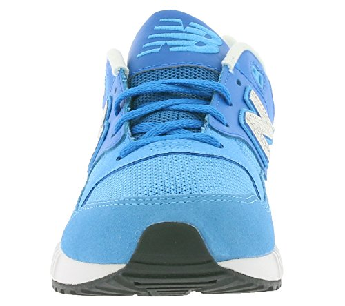 NEW BALANCE - Basket à lacets bleu clair, en microfibre, suède et cuir, logo latéral et à l'arrière, coutures visibles, garçon, garçons
