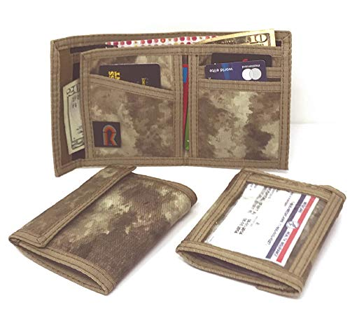 - Camouflage Bifold Nylon ID Wallet. Hook and Loop. Made in USA (A-TACS - AU CAMO (ARID URBAN))