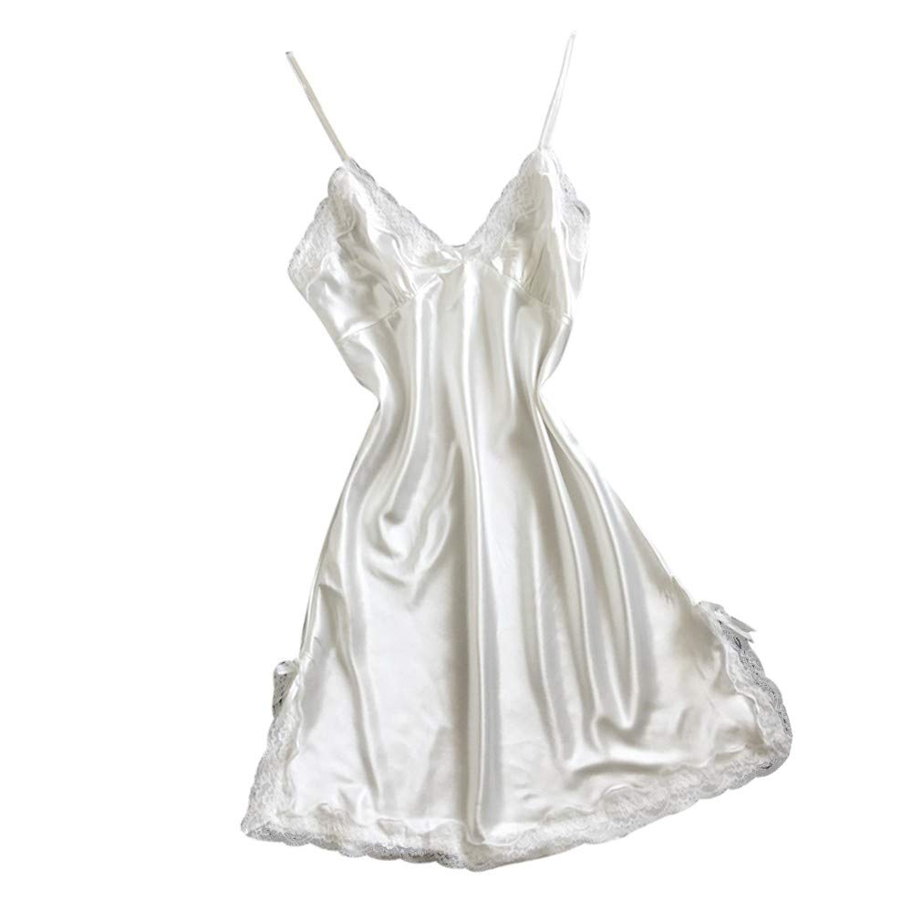 SuperUS Women Bowknot Lace Lingerie Satin Pajamas Sexy V-Neck Sleepdress Nightwear Chemise Nightgown White