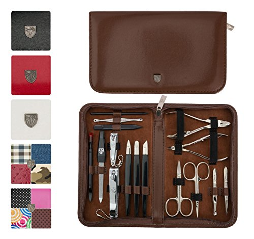 3 Swords Germany - brand quality 16 piece manicure pedicure grooming kit set for professional finger & toe nail care scissors clipper fashion leather case in gift box, Made in Solingen Germany (02648)
