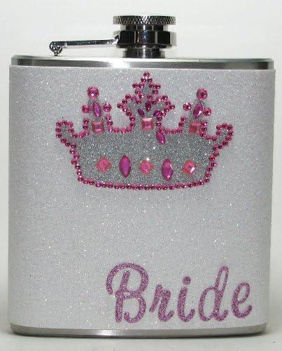 PInk Zebra Striped Sparkly Glitter  6 oz Size Stainless Steel Liquor Hip Flask Flasks Weddings Bridesmaids Gift Idea
