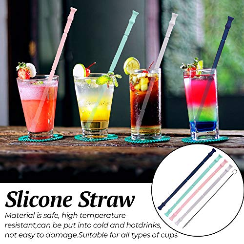 4 Pack Silicone Folding Straws Reusable Collapsible Silicone Drinking Straws for Kids amp AdultBPA FreeFood Grade Material with Cleaning Brush