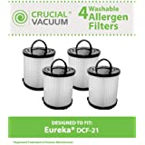 4 Highly Durable Washable & Reusable Style DCF-21 Filters for Eureka/Sanitaire AirSpeed Bagless Vacuums; Compare to Eureka Part Nos. 67821, 68931, EF91; Designed & Engineered by Think Crucial