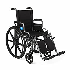 """Medline Lightweight and User-Friendly Wheelchair with Flip-Back, Desk-Length Arms and Elevating Leg Rests for Extra Comfort, Gray, 16"""" Seat"""