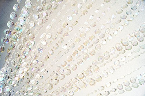Glass Beaded Curtain - Decorative Doorways Windows Bead Curtain 3 ft x 6 ft Iridescent Clear Color Plastic Crystal Beaded Curtain