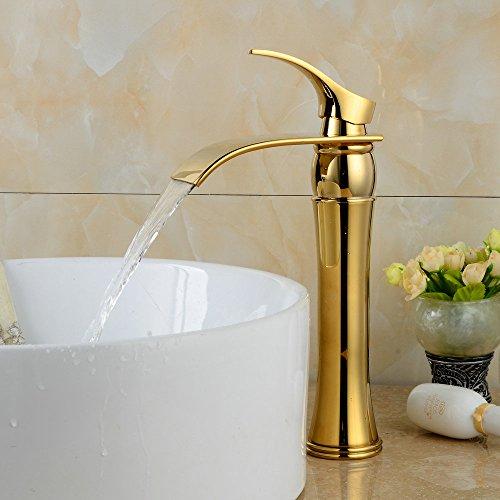 best Beelee Bathroom Lavatory Vessel Sink Faucet Waterfall, Ti-PVD Finish