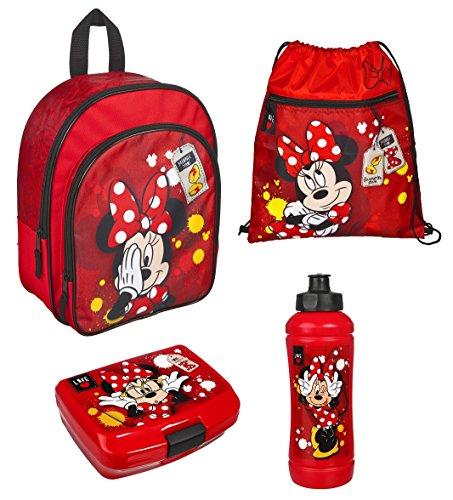 Disney`s Minnie Mouse 4tlg. Set Rucksack mit Brotdose, Trinkflasche und Turnbeutel 7601