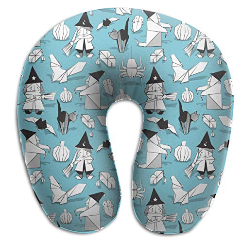 Juewu-474 Comfortable Memory Foam Travel Pillow, Halloween Witches Ghosts Pumpkins Spider Neck Pillow for Car, 360 Degree -