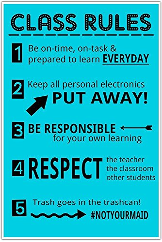 Class Rules Junior High MIddle School Classroom Poster #notyourmaid