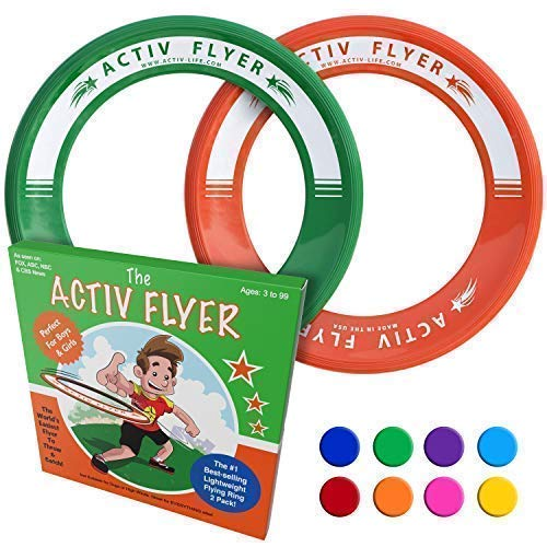 Activ Life Best Kids Ring Flyers [Green/Orange] Play Ultimate Toss Games with Friends and Family Outdoors - Indoor Gym Flying Disc Toys for Top Frisby Golf - Sports Juguetes para Niños Frisbie - Frisbee All Sport