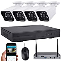 TOPSELL 4CH 720P Wireless HD All-in-one NVR Video Security Camera System with 4PCS IP66 Weatherproof Bullet Cameras, 65ft Day/Night Vision, P2P Remote View, Motion Detection, Automatic Alarm No HDD