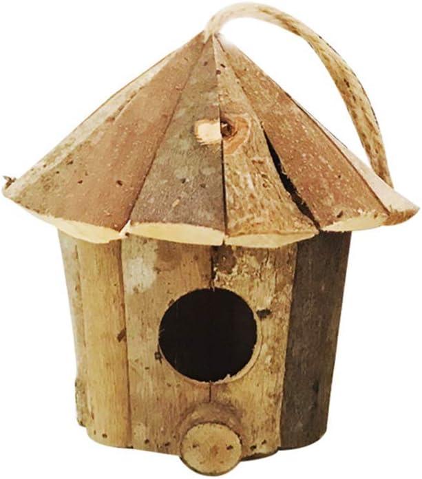 Yardwe Casitas de Madera para Pájaros para Decorar Manualidades para niños Nidos de Pajaros Decoración Colgante Vintage de Hogar Boda 16cmx16cm