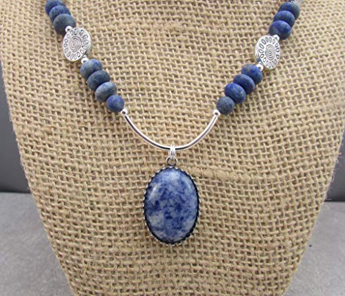Denim Lapis Pendant with Matte Lapis Gemstones Handmade Necklace, Inner Truth Chakra