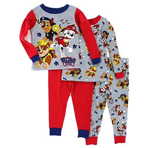 Paw Patrol Boys 4 piece Pajamas Set (2T, Marshall Chase & Rubble) (Paw Patrol Chase Toddler Costume)