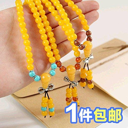 Yellow female models multi-turn amber prayer beads pendant bracelet multi-layered synthetic beeswax beads bracelet bracelets jewelry gift