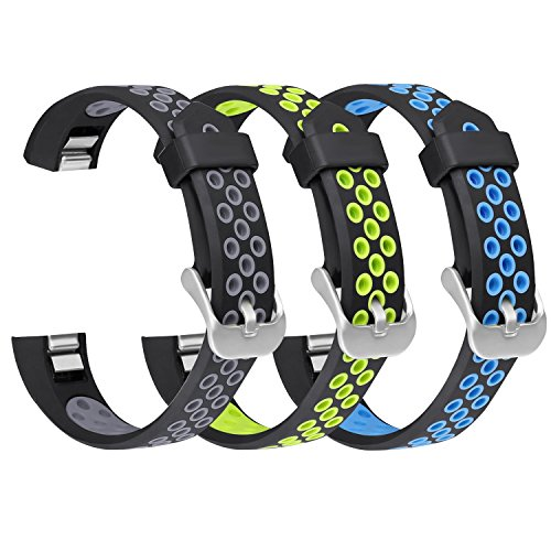 SKYLET Compatible with Fitbit Alta Alta HR Ace Bands, 3 Pack Soft Sport  Bands Breathable Replacement Kids with Secure Metal Clasp Fitness Men Women