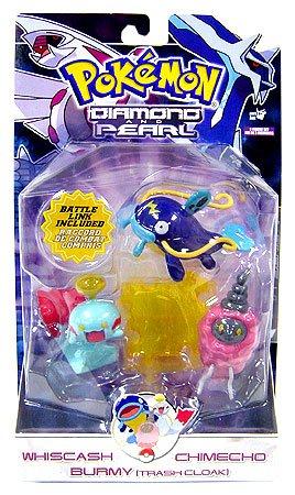 Pokemon Diamond and Pearl Series 7 Basic Figure 3-Pack Whiscash, Chimecho and Burmy (Trash Cloak) ()