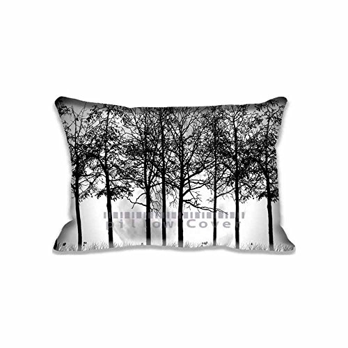 Custom Design Trees Silhouette Pillow Cases Zippered , Standard Queen Size Aero Pillowcase - 20X30inch Vector Art Cushion Covers Two Size Print