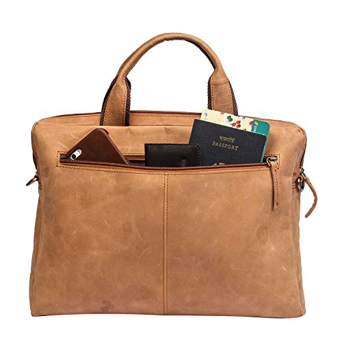 and compartments Bag Nylon Bag Zippered 13 Leather Inch Handle Laptop Laptop Soft multiple Cow Brown Leather with Sleeve Color 1OaYOqI