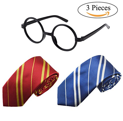 Tie Costume for Harry Potter 2 Pcs Striped Necktie and 1 Pair Glasses Set Cosplay Accessories for Halloween Party Supplies