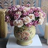 MingXiao Austin 15 Cabezas Flores de Seda Rosa Artificial Rosa Arreglo de Flores Marfil