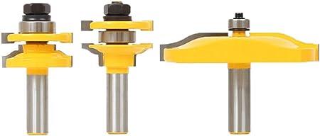 jaune Meccion Rail et Stile avec panneau R/éhausseur routeur Bit Lot de 3/pcs 1//5,1/cm Tige carbure Professional outils de menuiserie Cutter