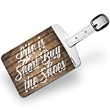 Luggage Tag Painted Wood Life is Short Buy the Shoes - NEONBLOND