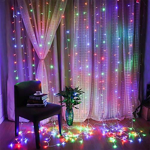 Lichtgordijn met USB-aansluiting, led-gordijn, voor binnen en buiten, waterdicht, decoratie, decoratie voor Kerstmis…