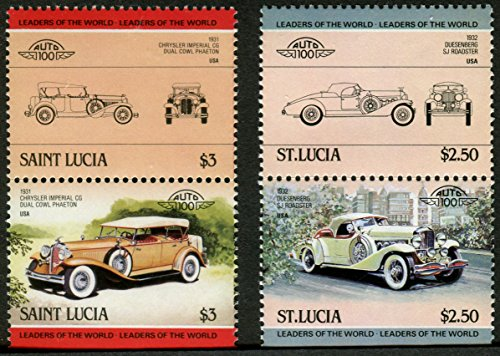 TWO CLASSIC AMERICAN AUTOS: The 1932 Duesenberg SJ Roadster, The 1931 Chrysler CG Imperial Dual Cowl Phaeton Classic Cars USA (Set of 2 postage stamps)