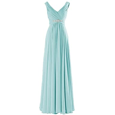 01e94c091fb Kivary V Neck Beaded Long A Line Chiffon Formal Prom Dresses Corset  Bridesmaid Gowns Aqua US
