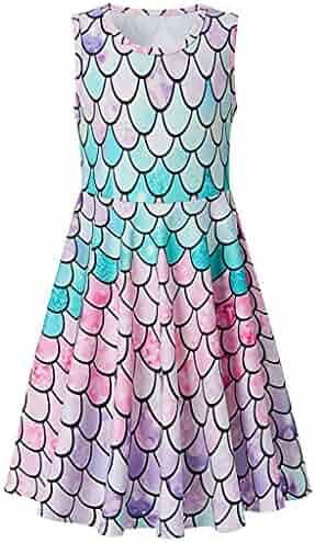 3119350474fc Summer Girls Sleeveless Casual Floral Sundress Print Dress Planets Print Dress  Party for Girls 4-