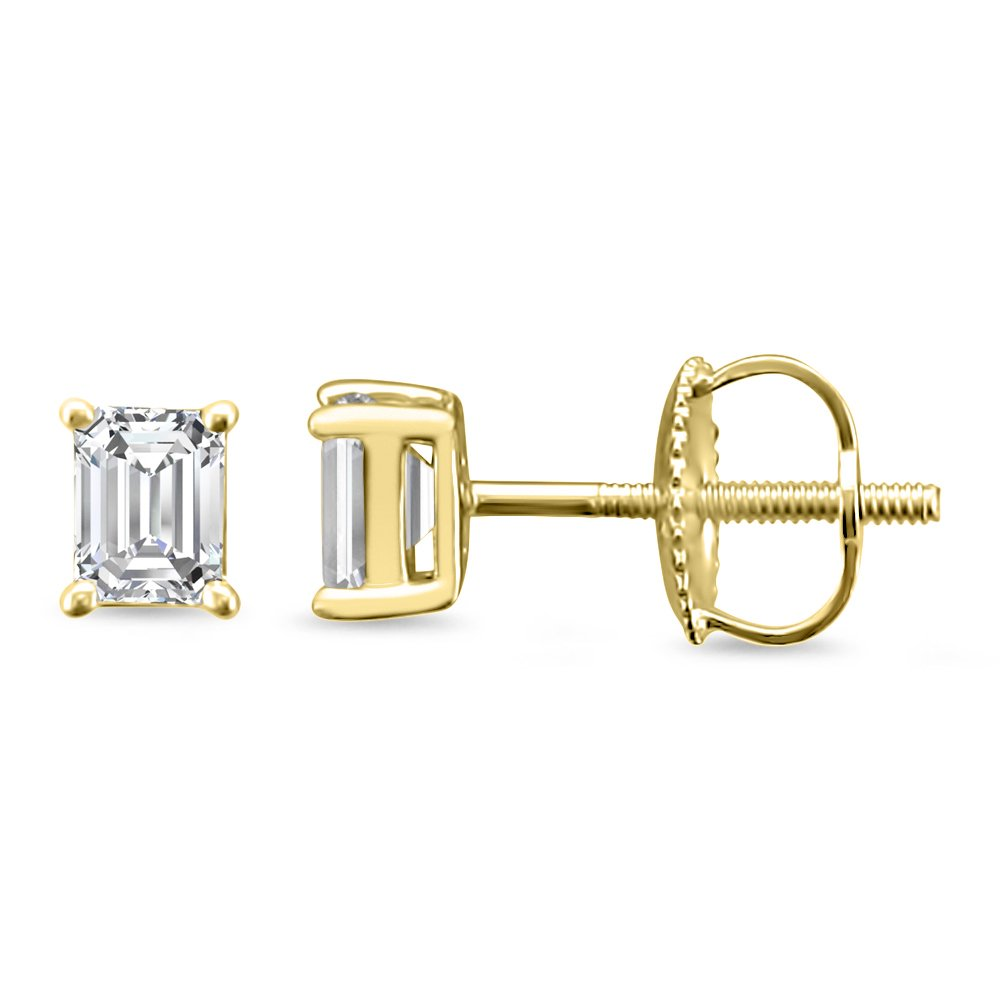 14k Yellow Gold Emerald-cut Solitaire Diamond Stud Earrings (1/2 cttw, H-I, VS2-SI1)