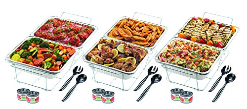 Chafing Dish Sterno (Sterno 70222 24 Piece Disposable Party Set, One Size, Silver)