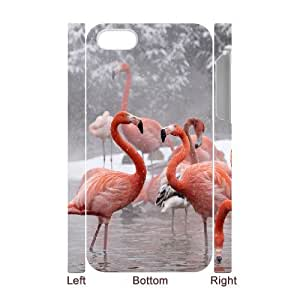 3D IPhone 4/4s Case Light Pink Flamingos,two Flamingos for Women, Cute Iphone 4 Cases for Teen Girls for Women [White] by ruishername