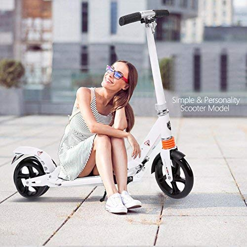 kids/Adult Scooter with 3 Seconds Easy-Folding System, 220lb Folding Adjustable Scooter with Disc Brake and 200mm Large Wheels (White) by Fast 88