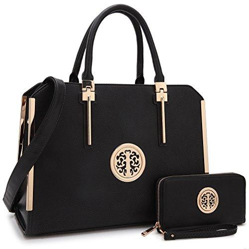 "Price comparison product image Women Large Designer Handbags Satchel Purses Structured Briefcase Shoulder Bags Work Bags for 13"" Laptop Tablet"