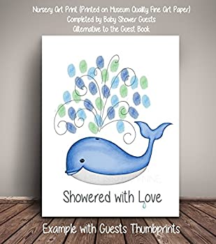 Whale Thumbprint Baby Shower Guest Record, Fine Art Print, Whale Baby Shower (Frame Not Included), Guest Thumbprint Sign In